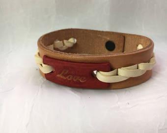 Love Stamped Leather Bracelet