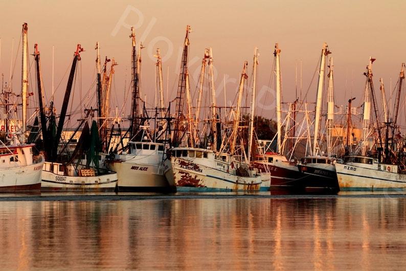 Ft Myers Beach Fishing Boats Photograph  Boats at Sunset  Nautical Photography  Sunset Photograph