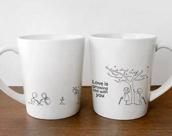 3e06a01169 Anniversary Gifts for Him, Wedding Anniversary Gifts, Couples Mugs, His and  Hers Mugs, Couples Gifts, BoldLoft Anniversary Mugs for Couple