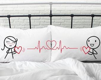 Valentines Day Gifts for Her Couple Pillowcases Couple Gift Boyfriend Girlfriend Gifts for Anniversary Wedding Birthday BoldLoft Love Beat