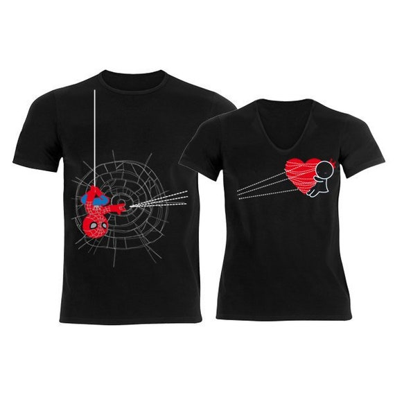 29072f1b9b His and Hers Shirts Matching Couples Shirts Spiderman Shirt   Etsy