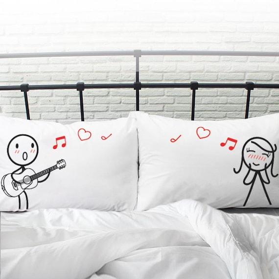 Love Words Printed Couple Pillow Cases