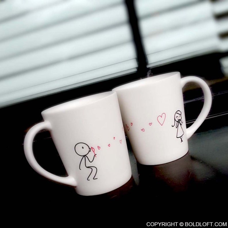 Valentines Day Mugs Couple Coffee Mugs His and Hers Mugs for image 2