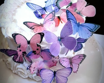 Edible Butterflies Pastel Lavender Pink Wafer Butterflies, Collection Set of 15