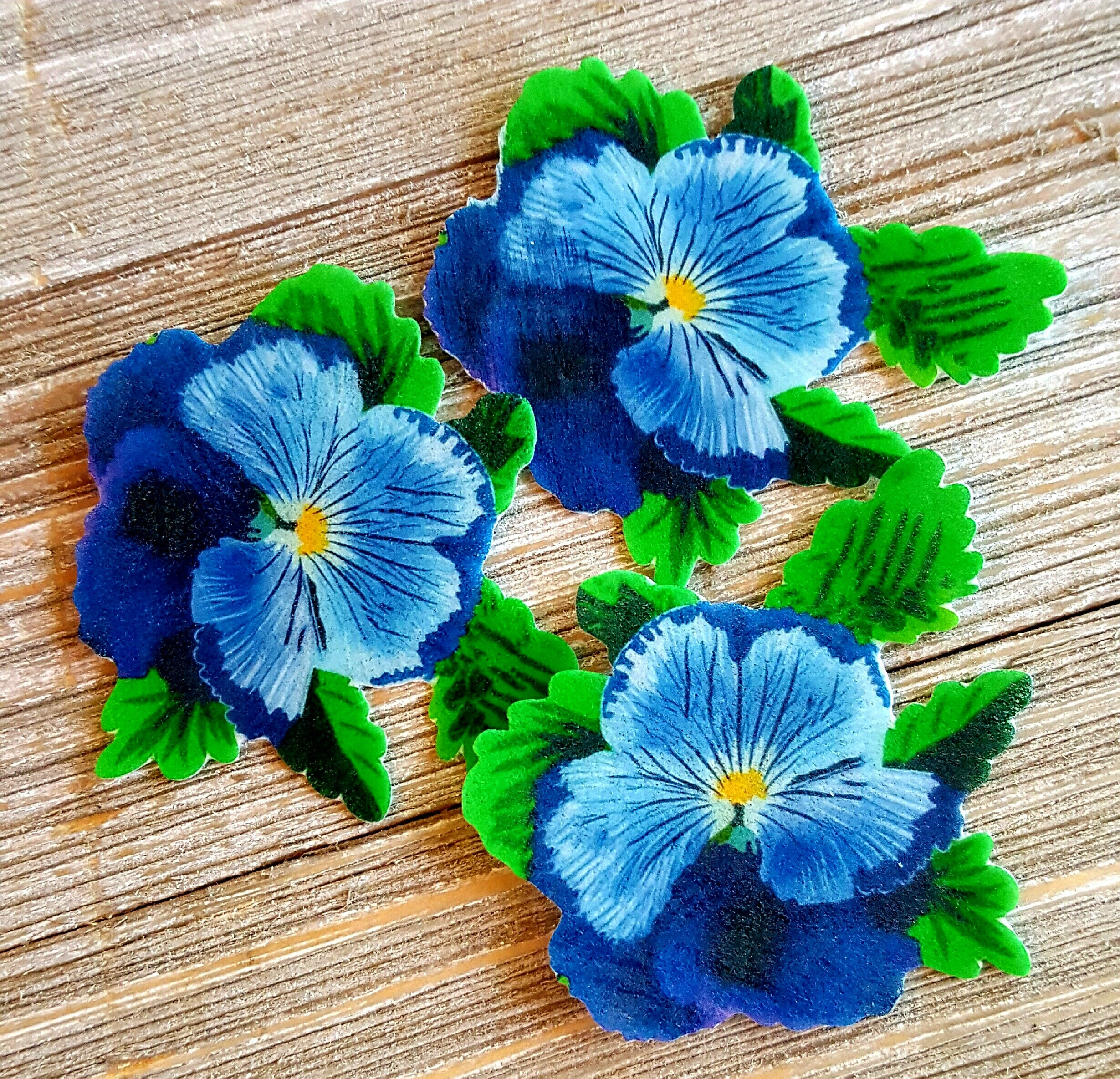 Edible Wafer Paper Flat Blue Pansy Flowercakecupcake Etsy