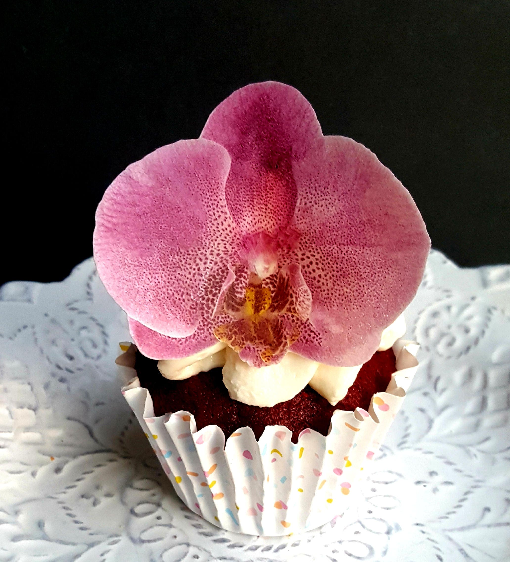 Edible Wafer Paper Pink Orchid Flowerflat Cupcake Or Cookie Etsy