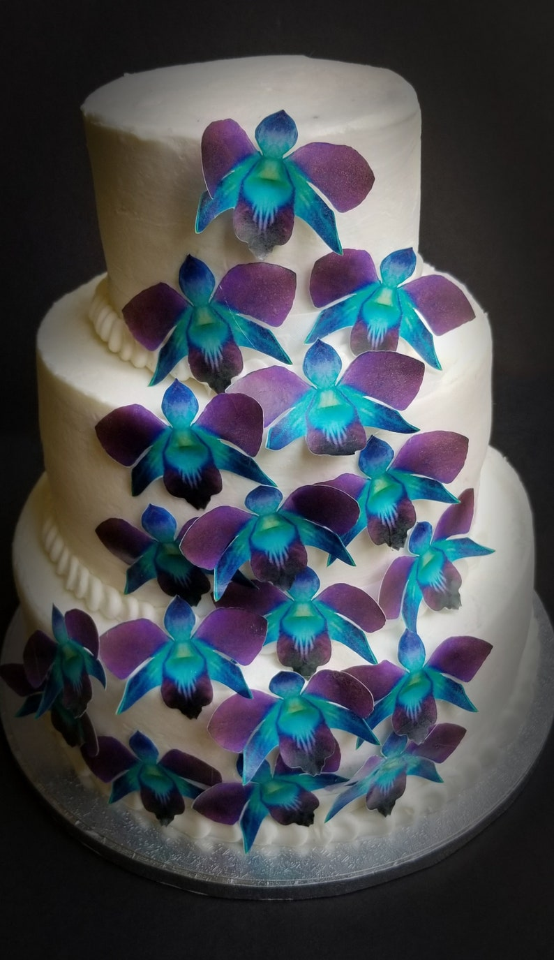 Edible Wafer Teal Purple Orchid Flower Cake Cupcake Toppers Etsy