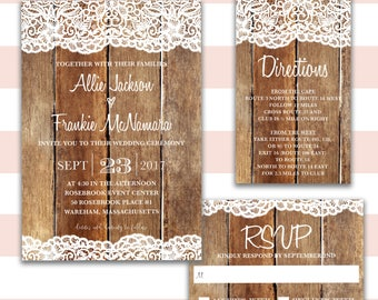 Rustic Wedding Invitation- Wood and Lace Invitation