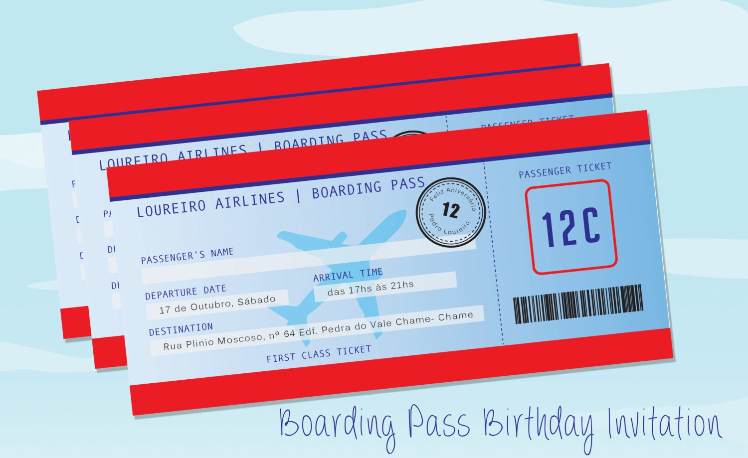 4 x 9 Boarding Pass Birthday Invitation Instant Download | Etsy