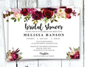 Bridal Shower Invitation, Floral Bridal Shower Invitation, Boho Bridal Shower