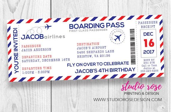 Boarding pass birthday invitation airplane boarding pass etsy image 0 filmwisefo