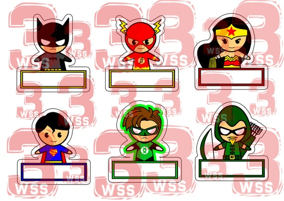 name tags superhero templates as toppers or stickers for etsy