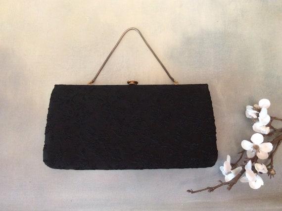 Evening bag vintage black fabric 1960s vintage handbag evening bag vintage chain