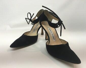 Vintage 1990s Black Suede Manolo Blahnik Shoes, Vintage Sexy Black High Fashion Shoes, Vintage Suede Shoes, Women's HIgh Heel Shoes