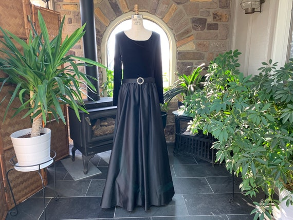 Vintage Black Velvet Satin Rhinestone Formal Dress