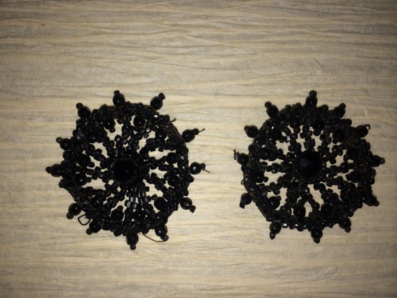 Mourning Beads Vintage Beading Vintage Jewelry  MRS41 Vintage Beadwork Vintage Mourning  Black Glass Beaded Medallions