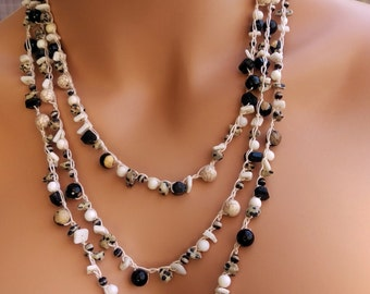Black and white multi strand crocheted Boho necklace