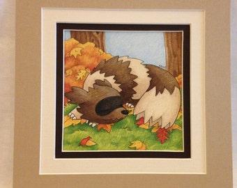 """Zigzagoon Fan Art- Pre-matted, 8""""x8"""""""