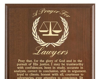 Lawyer Prayer Plaque   Legal Gift   Personalized Attorney Gift   A Lawyer's Prayer