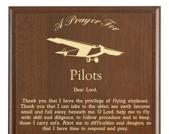 Pilots Prayer Plaque | Pilot Gift | Personalized Flying Gift | An Airplane Pilot's Prayer