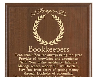 bookkeepers prayer plaque bookkeeping gift personalized bookkeepers gift a bookkeepers prayer
