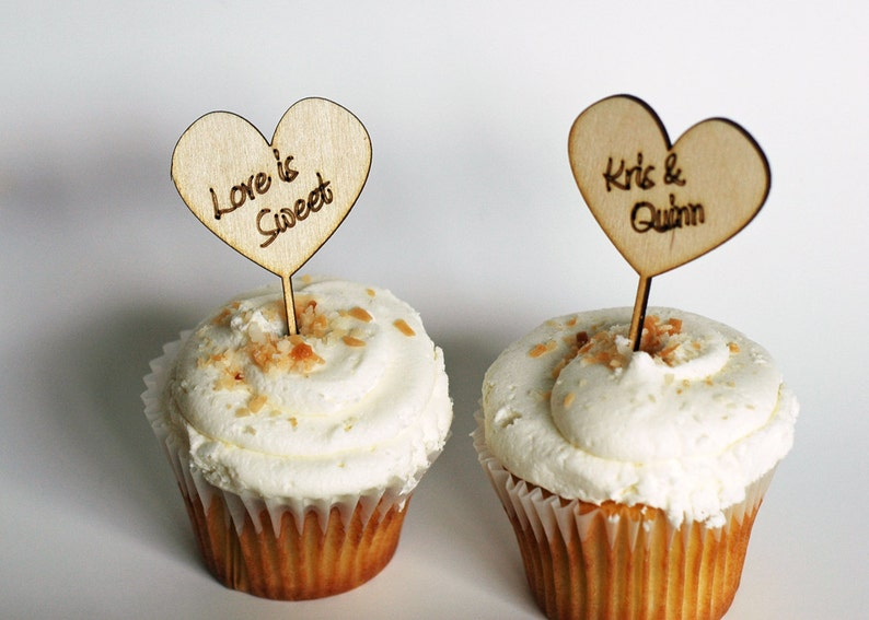 Valentine's Day Cupcake Toppers - Heart Shape Custom Engraved Wood cupcake  toppers