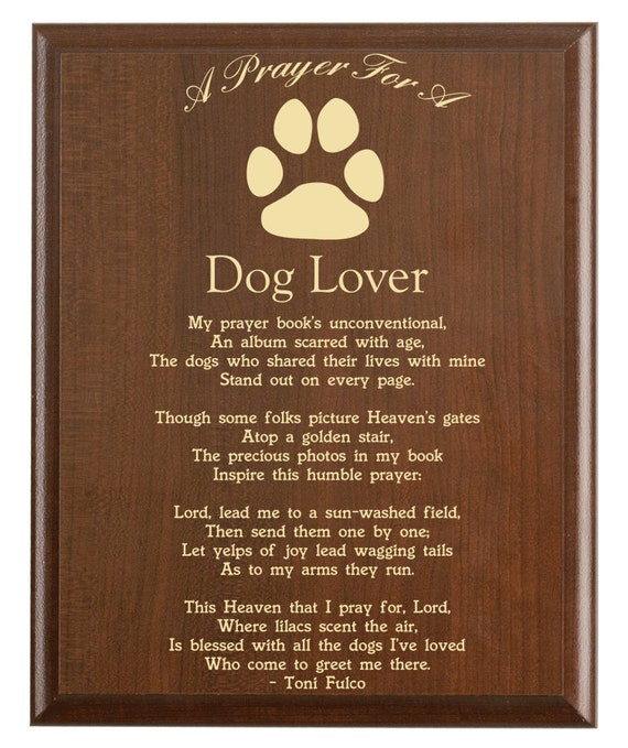 Dog Lovers Prayer Plaque | Dog Mom Gift | Personalized Dog Lover Gift | A  Dog Lover's Prayer