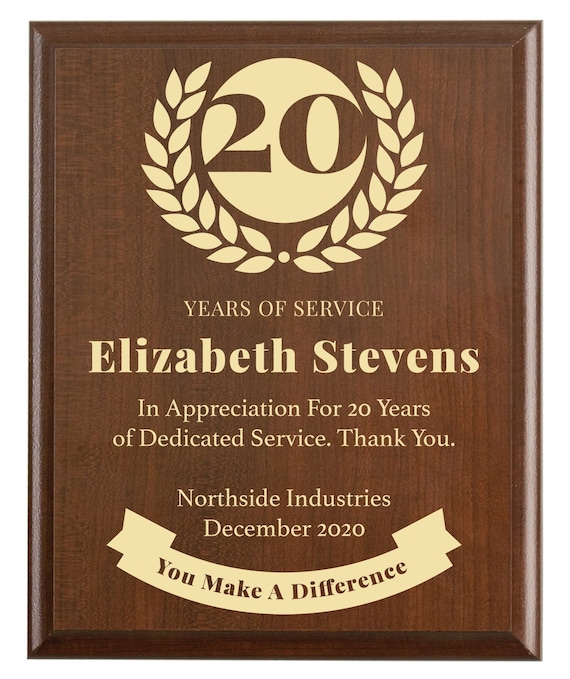 20 Year Work Anniversary Gift Award Twenty Years Of Service Employee Recognition Appreciation Plaque Personalized Engraved Gift Classic