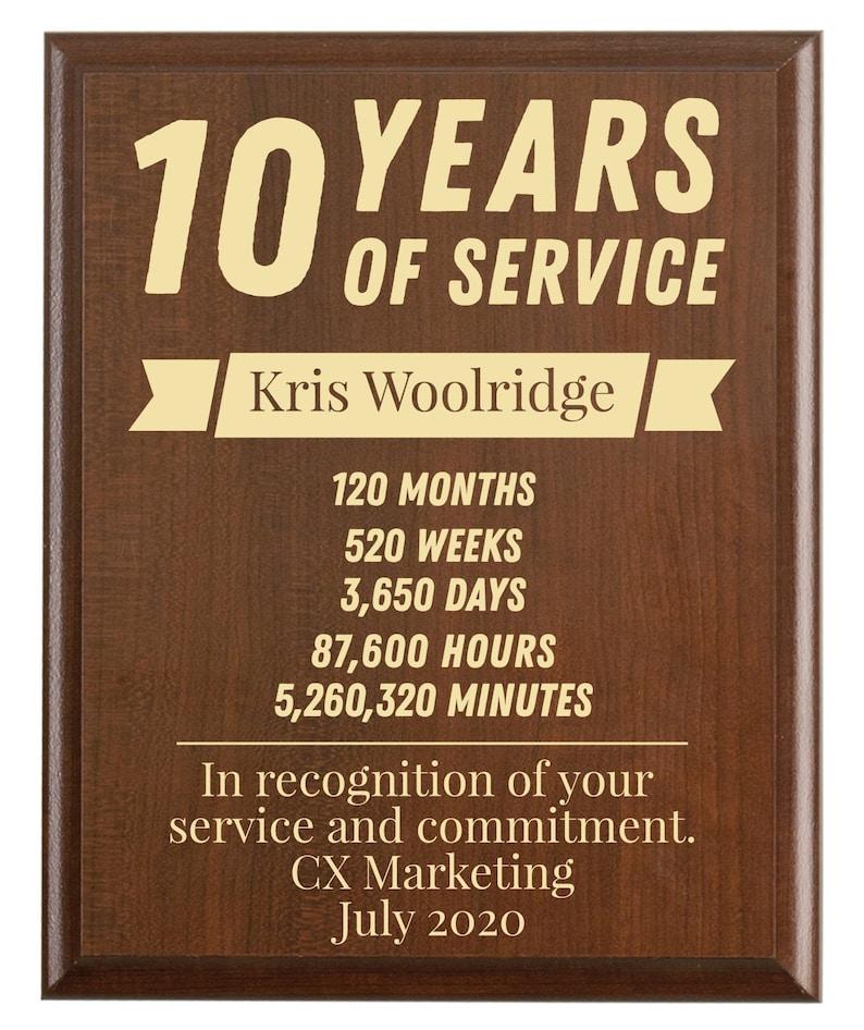 Anniversary Gift Lists By Year: 10 Year Work Anniversary Gift Award Ten Years Of Service