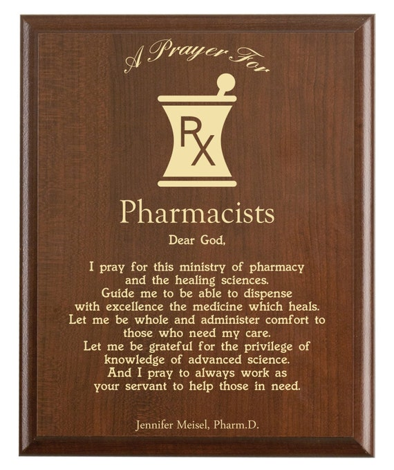 Pharmacists Prayer Plaque   Personalized Pharmacy Gift for School or PharmD  Graduation   A Pharmacist's Prayer for Medical Professionals
