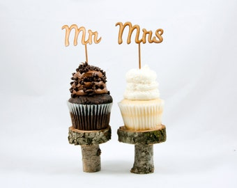 Mr & Mrs Wedding Cupcake Toppers - CUTOUT - Wedding Cupcake Cake Toppers - Rustic Wood or Classy Acrylic