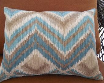 Aqua Tan Outdoor Pillow Cover Chevron Patio Porch Decorative Throw Pillow Modern Zig Zag Diamond Waverly Fabric Aqua Spa