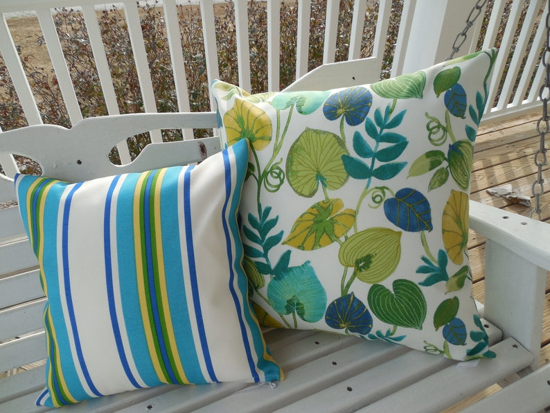 Stripe Outdoor Pillow Cover Patio Porch Decorative Accent Throw Pillow CoverGreen Blue Yellow