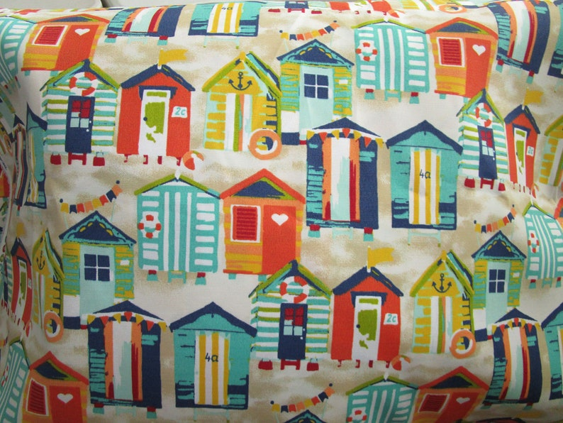Beach Hut OUTDOOR Pillow Cover Patio Porch Decorative Accent  Toss Throw Pillow Navy Orange Teal Yellow Beach Coastal Decor