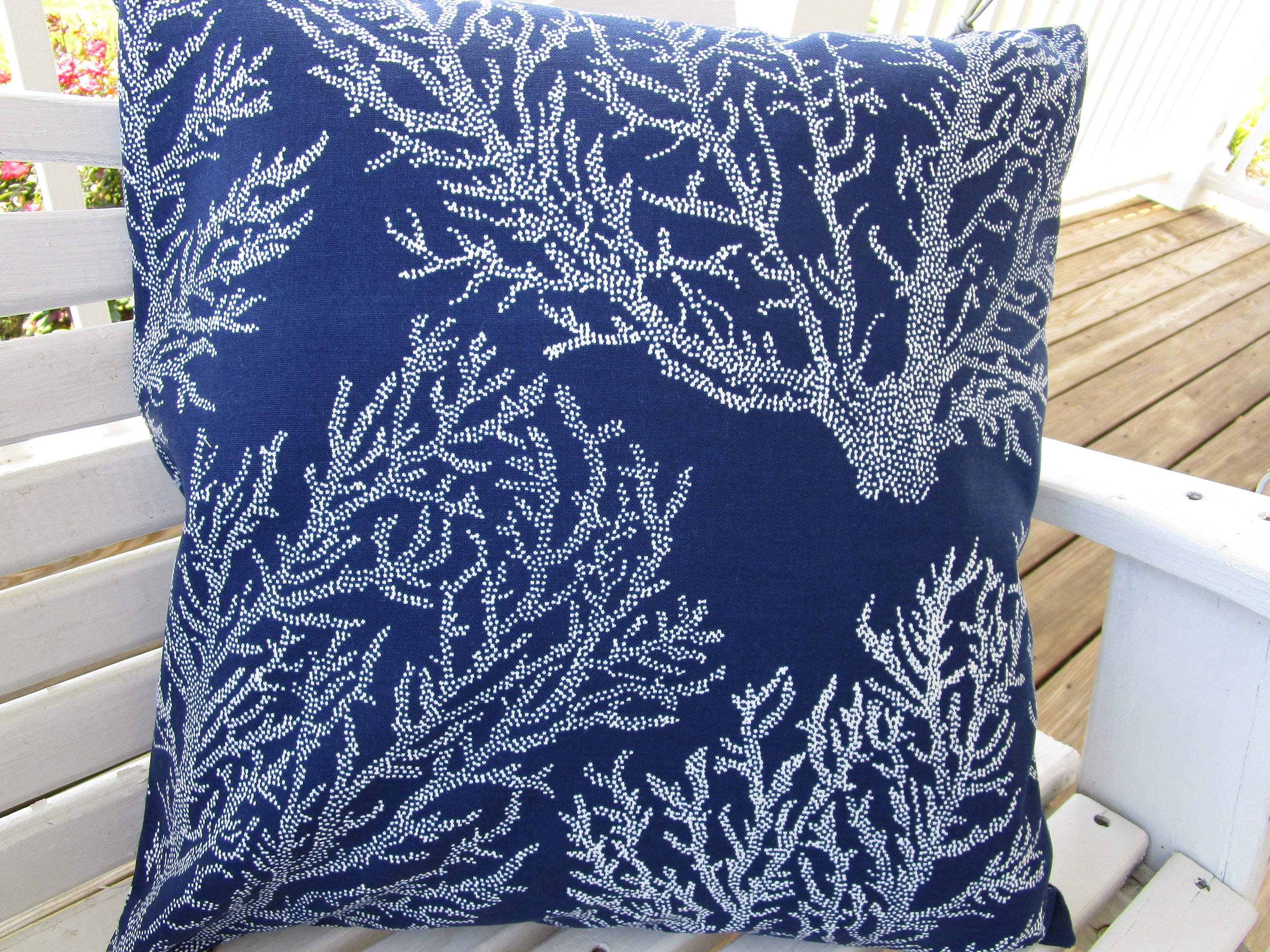 CLEARANCE Navy Outdoor Pillow Cover Beach Patio Porch Decorative Accent  Throw Pillow Cover Nautical Navy Blue Sea Fan Coral