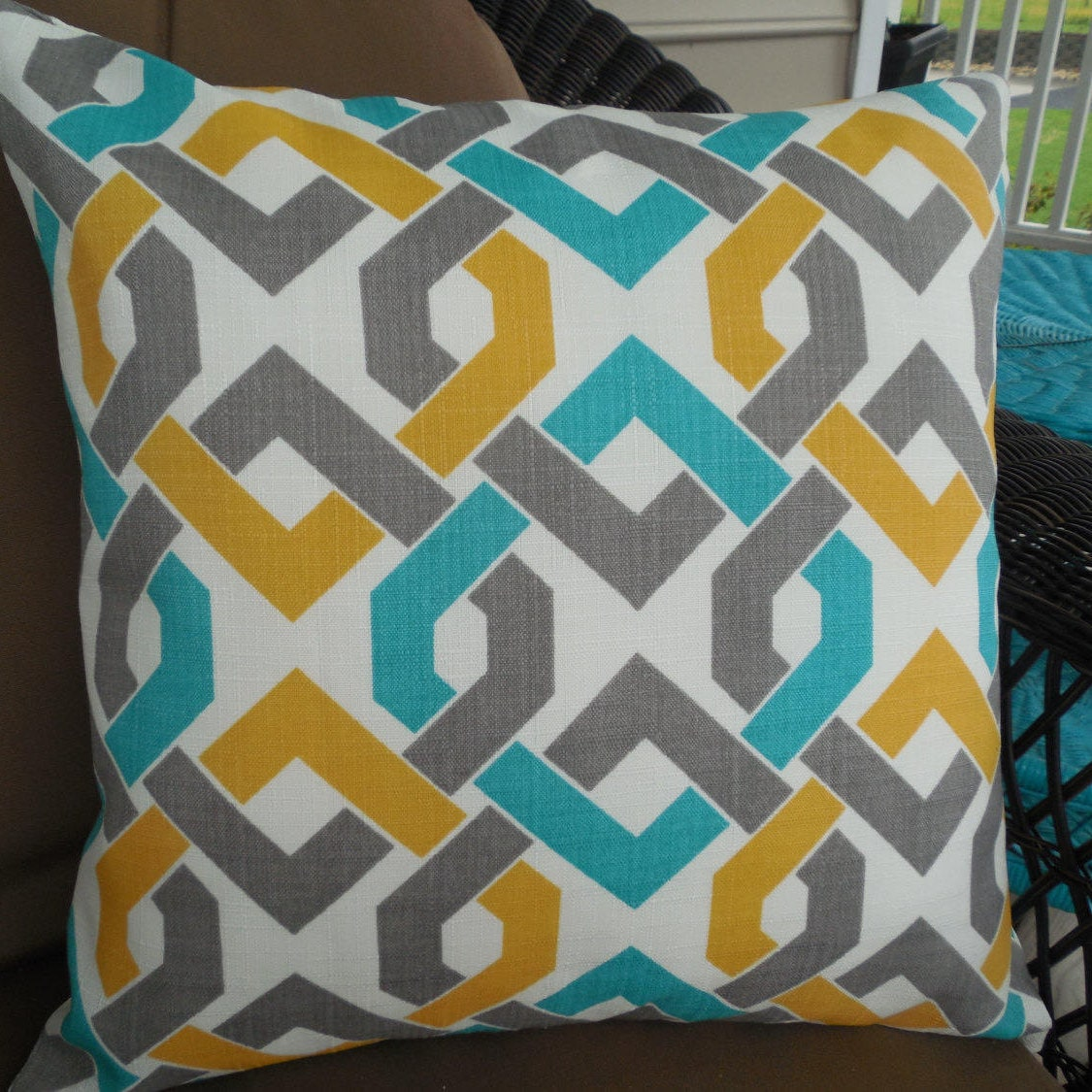 CLEARANCE IKAT Outdoor Pillow Cover Teal Gray Yellow Patio Porch Decorative  Accent Throw Pillow Zipper Closure Chain Links