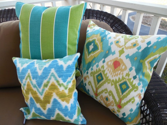 Modern Ikat Outdoor Pillow Cover Patio Porch Decorative Throw Etsy