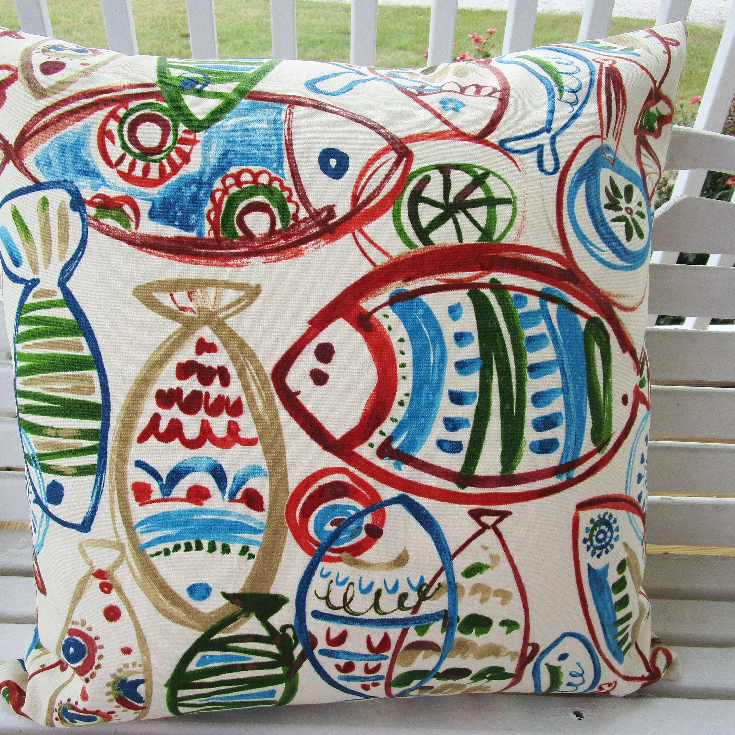 CLEARANCE Fish Outdoor Pillow Cover Beach Patio Porch Decorative Accent  Throw Pillow Cushion Abstract Red Blue Green Taupe