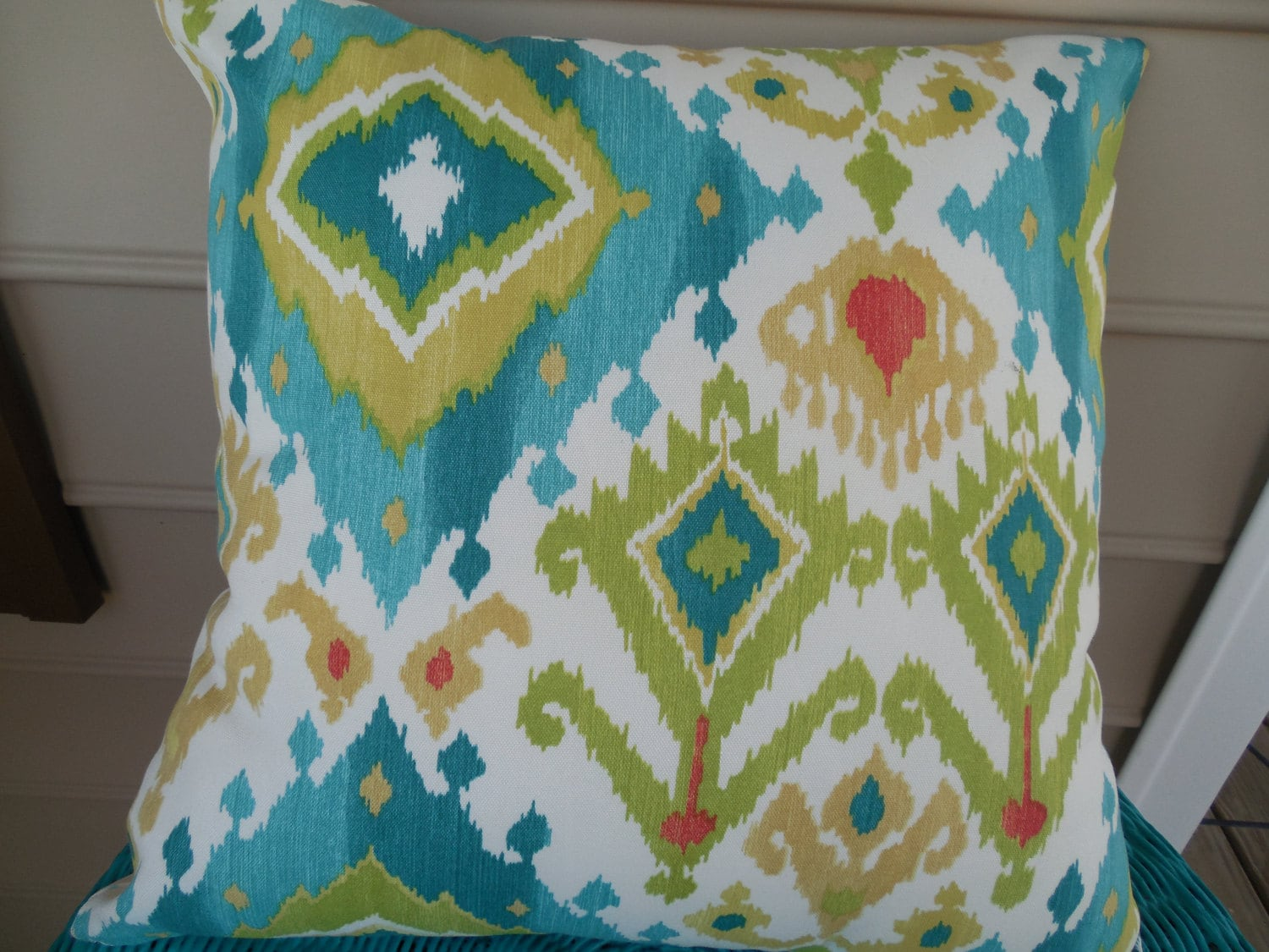 CLEARANCE Modern Ikat Outdoor Pillow Cover Patio Porch Decorative Throw  Pillow Cushion Turquoise Teal Green Diamond Chevron Stripe Mix Match