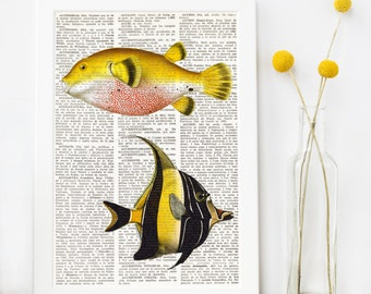 FISH PRINT art over DICTIONARY old page, Dictionary Art Prints, Yellow and black vintage fish, Whimsical decor, Colorful Kids bedroom, #030