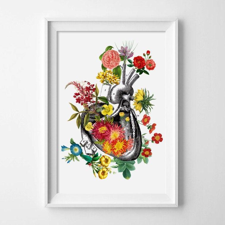 CORAZÓN HUMANO con FLORES corazón con flores lámina corazón | Etsy