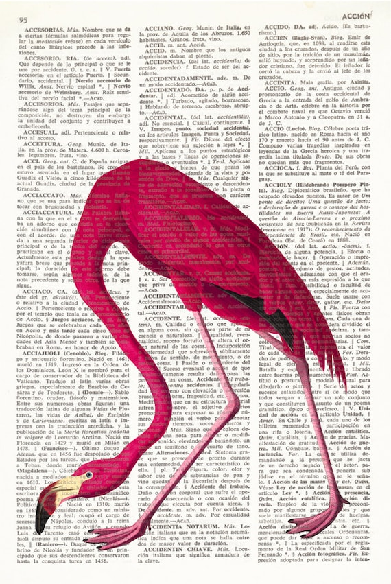 Flamingo Art Printed On Antique Book Page Upcycled House Decor Recycled