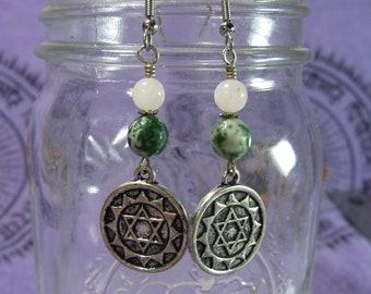 Heart Chakra Earrings, Rose Quartz and Tree Agate Earrings, Anahata, Green Chakra Jewelry, Pink Chakra Jewelry