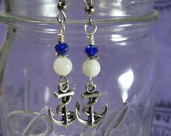 Mother of Pearl Anchor Earrings, Nautical Earrings, Anchor Jewelry, Shell Earrings
