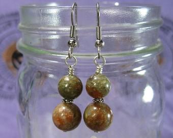 Autumn Jasper Earrings, Green and Pink Jasper, Gemstone Earrings