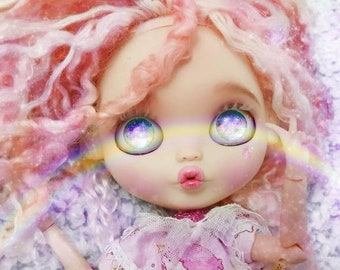 Kate little twin stars themed Blythe doll ooak with bubblegum mohair reroot