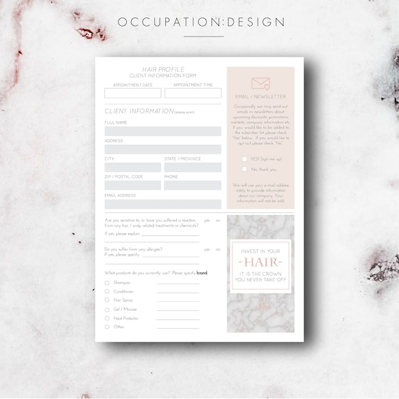 hair stylist printable digital client information forms etsy