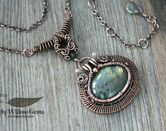 Wire Wrapped Labradorite Necklace - Copper and Natural Gemstone Pendant with Green and Blue Flash - Aurora Borealis Collection