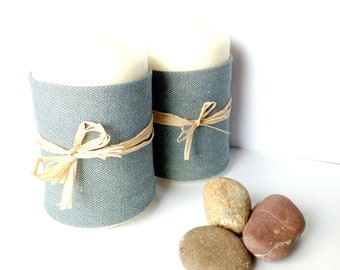 CANDLES with RAPHIA and DENIM-- Unscented, for home decor / table / bedroom