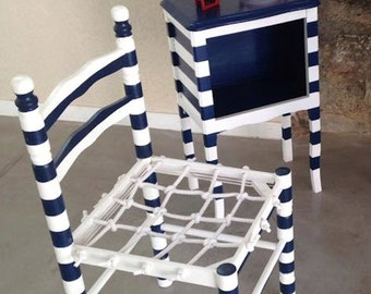 Chair Sailor's chair -- MADE TO ORDER Rehabilitated wooden chair, handwoven net, stripy blue / white by SophieLDesign